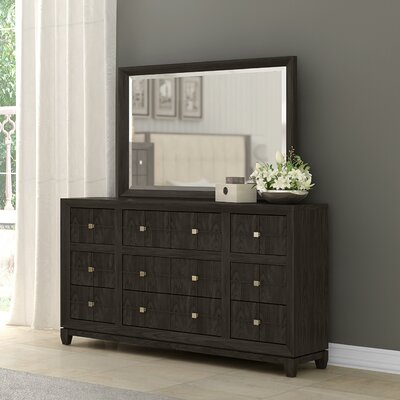 Amabilia 9 Drawer Dresser with Mirror