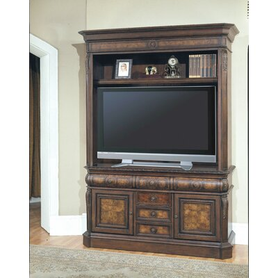 buy low price parker house andria 69 tv stand with hutch in antique pecan pkr1970. Black Bedroom Furniture Sets. Home Design Ideas