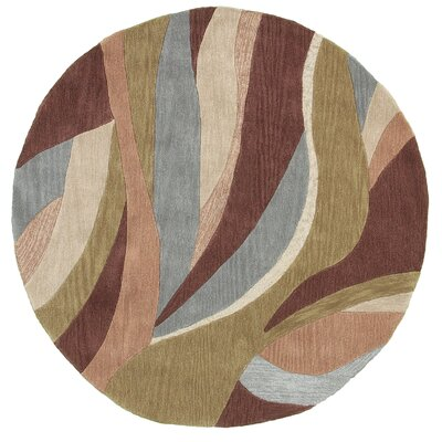 Fashion Brow/Tan Geometric Area Rug Rug Size: Round 5