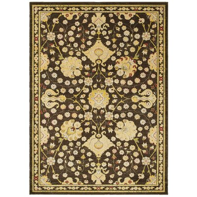 Antigua Floral Brown/Green Area Rug Rug Size: 53 x 75