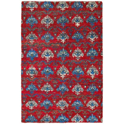 Rajani Hand-Knotted Silk Red Area Rug Rug Size: Rectangle 92 x 126