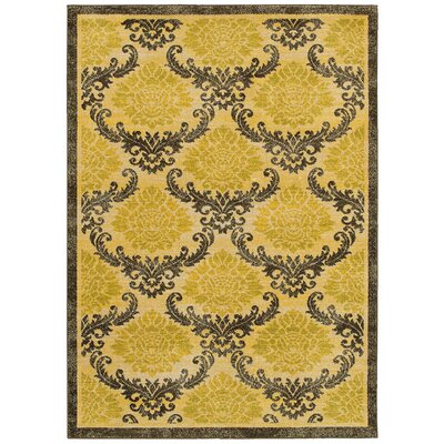 Antigua Gold/Brown Area Rug Rug Size: 53 x 75
