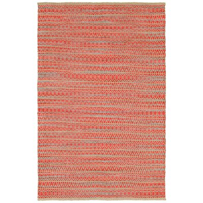 Natural Fiber Hand Woven Red/Brown/Blue Area Rug Rug Size: 53 x 75