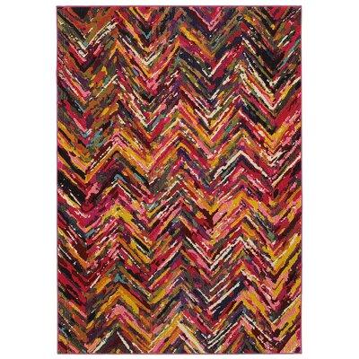 Jubilee Chervon Pink/Yellow Area Rug Rug Size: 78 x 98