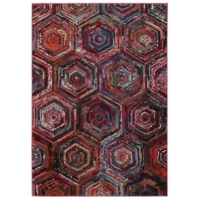 Jubilee Geometric Brown/Red Area Rug Rug Size: 78 x 98