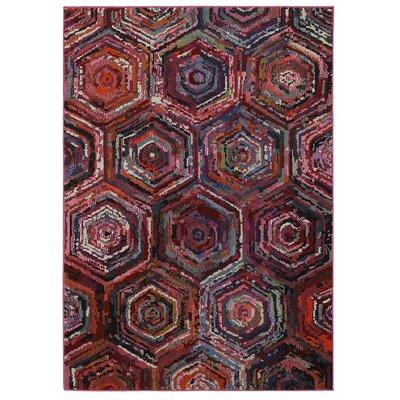Jubilee Geometric Brown/Red Area Rug Rug Size: 5 x 75