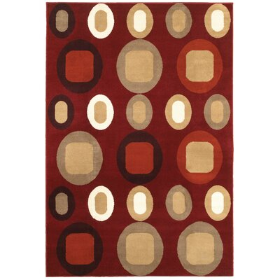Adana Terracotta & Beige Area Rug Rug Size: 53 x 75