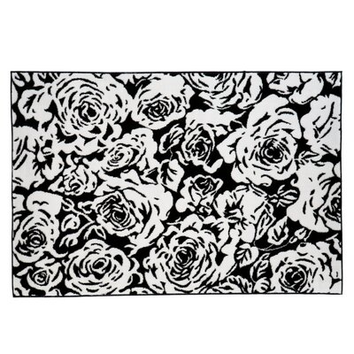 Rose Black/White Area Rug Rug Size: 36 x 56
