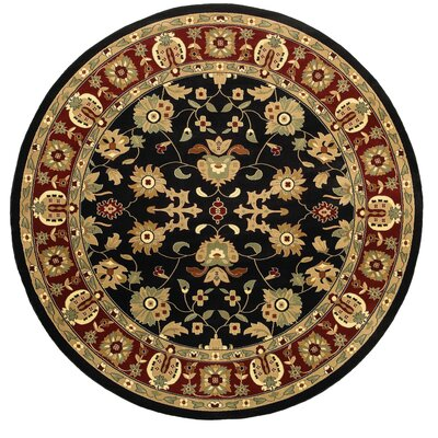 Rowena Persian Black/Red Area Rug Rug Size: Round 9