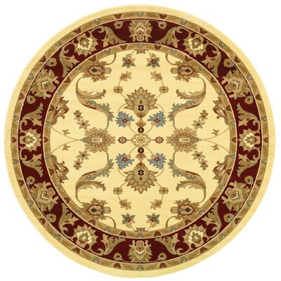 Rowena Persian Cream & Red Area Rug Rug Size: Round 6
