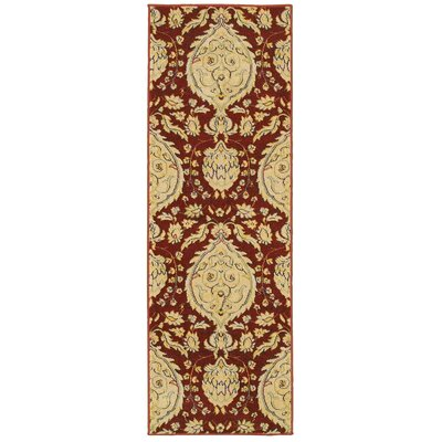 Antigua Red/Beige Floral Area Rug Rug Size: 53 x 75