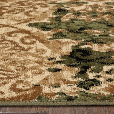 Fayme Green/Tan Area Rug Rug Size: 79 x 95