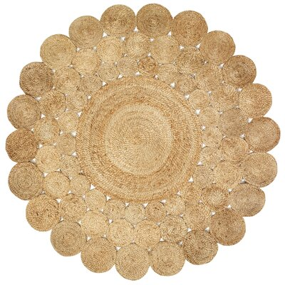 Eugenie Jute Hand-Braided Natural Area Rug Rug Size: Round 8