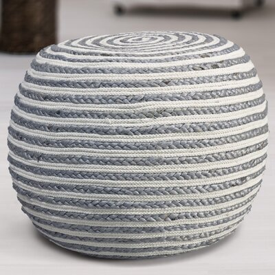 Fort Lupton Pouf Upholstery: Gray/White