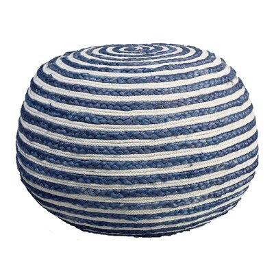 Fort Lupton Pouf Ottoman Upholstery: Blue/White