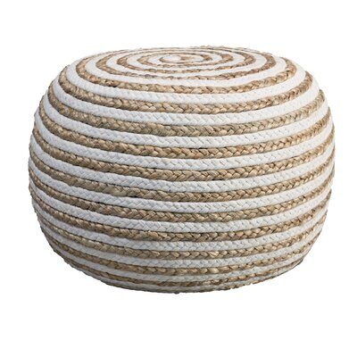 Henry Pouf Ottoman Upholstery: Natural/White