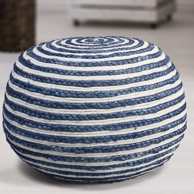 Fort Lupton Pouf Upholstery: Blue/White