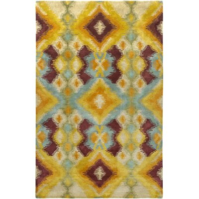 Majestic Hand-Woven Beige/Red Area Rug Rug Size: 5 x 79