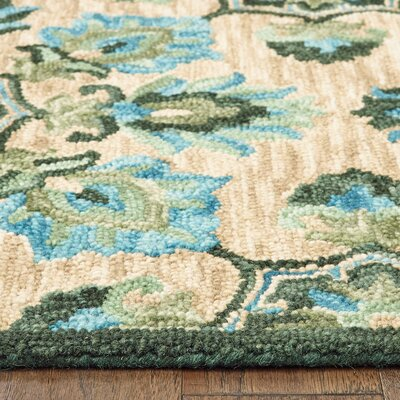 Duron Hand-Tufted Floral Wool Beige/Green/Blue Area Rug Rug Size: 9 x 12