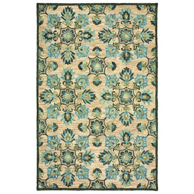 Aldo Hand-Tufted Floral Wool Beige/Green/Blue Area Rug Rug Size: 8 x 10