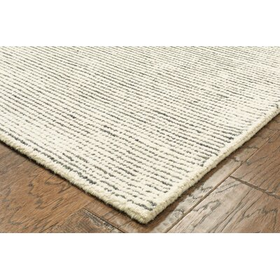 Dunbarton Pin Dot Hand-Hooked Wool Dark Gray Area Rug Rug Size: 5 x 79