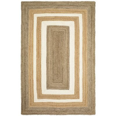 Lechez Jute Hand-Woven Gray/Beige Area Rug Rug Size: 36 x 56