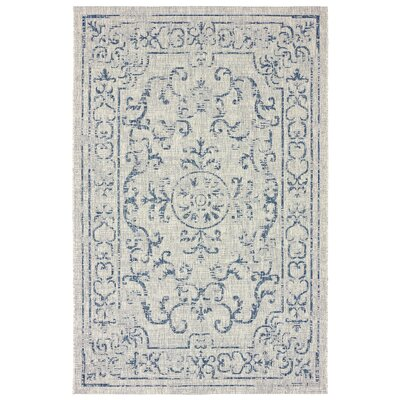 Dinesh Reversible Navy/Gray Indoor/Outdoor Area Rug Rug Size: 5 x 8