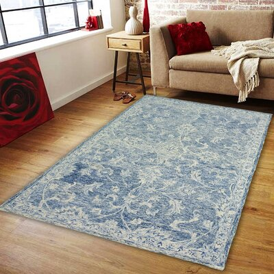 Barret Hand-Tufted Wool Navy Area Rug Rug Size: 9 x 12