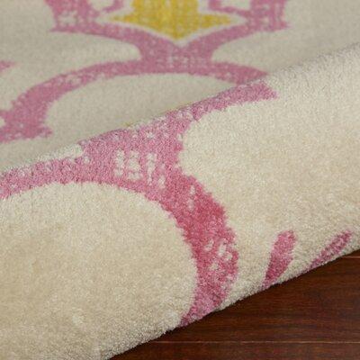 Carlwirtz Pink/Cream/Yellow Area Rug Rug Size: Rectangle 36 x 56