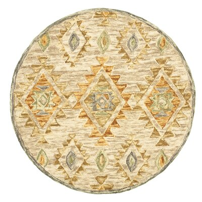 Arla Contemporary Diamond Beige Area Rug Rug Size: Round 6