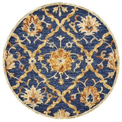 Arla Jacobean Diamond Navy/Yellow Area Rug Rug Size: Round 6