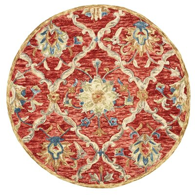 Arla Jacobean Diamond Red Area Rug Rug Size: Round 6