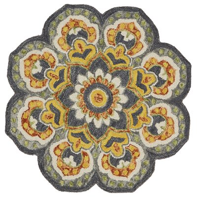 Arla Floral Medallion Gray/Yellow Area Rug Rug Size: Round 6