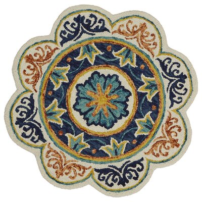 Arla Floral Medallion Blue/Cream/Red Area Rug Rug Size: Round 4
