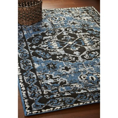 Apsel Black/Spa Blue Area Rug Rug Size: Rectangle 52 x 72