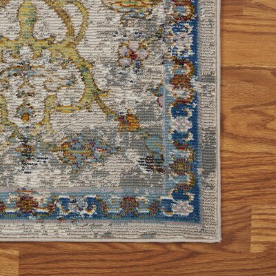 Amory Old World Victorian Gray Area Rug Rug Size: Rectangle 89 x 119