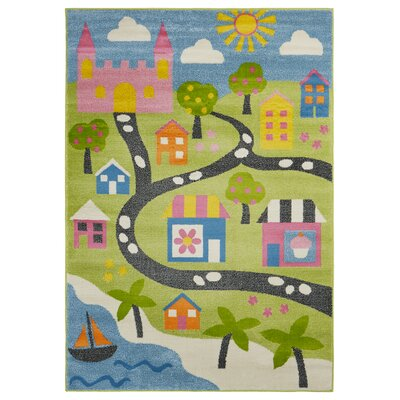 Gulf Fairytale Green/Blue/Pink Area Rug Rug Size: Rectangle 36 x 56