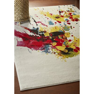 Andreasen Abstract Splash White/Red/Yellow Area Rug Rug Size: Rectangle 3' x 5'