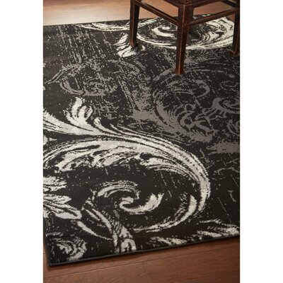 Rueben Anthracite Black Area Rug Rug Size: Rectangle 52 x 72