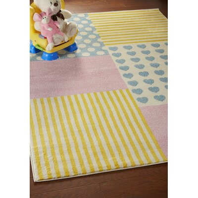 Carlwirtz Patchwork Pink/Yellow/Blue Area Rug Rug Size: Rectangle 5 x 7