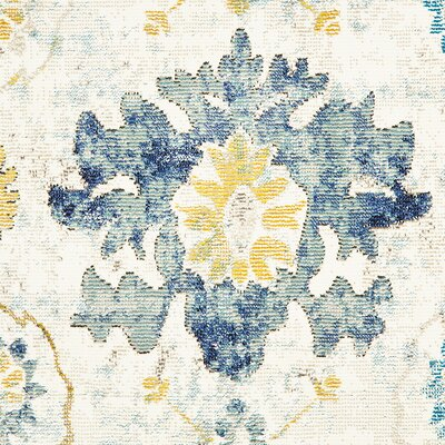 Amory Distressed Botanical Cream/Gray/Blue Area Rug Rug Size: Rectangle 5 x 8