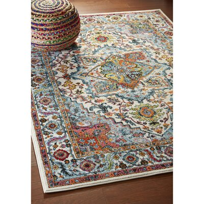 Amot Modern Oriental Cream/Blue/Yellow Area Rug Rug Size: Rectangle 51 x 75