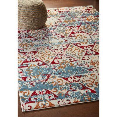 Amot Distressed Damask Stripe Orange/Red/Blue Area Rug Rug Size: Rectangle 3 x 5