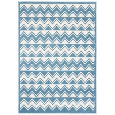 Carlwirtz White/Light Blue Area Rug Rug Size: Rectangle 36 x 56