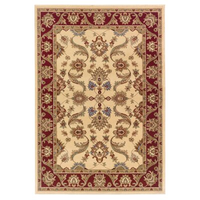 Rowena Persian Cream & Red Area Rug Rug Size: Round 9