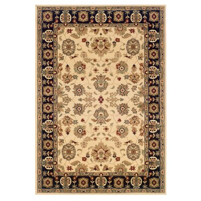 Enola Persian Cream/Black Area Rug Rug Size: Rectangle 53 x 75