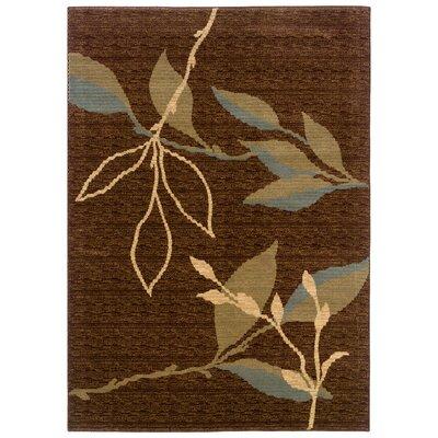 Opulence Leaf and Sprig Design Light Brown/Light Moss Area Rug Rug Size: 53 x 75