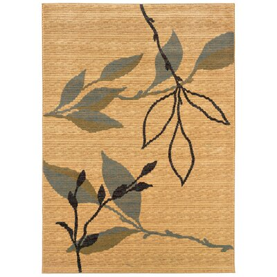 Opulence Cream/Blue Leaf and Sprig Design Area Rug Rug Size: 311 x 53