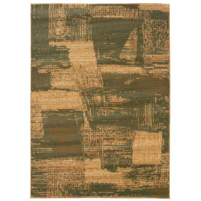 Opulence Olive/Dark Yellow Abstract Brushstroke Area Rug Rug Size: 92 x 125