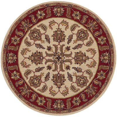 Shapes Ivory/Red Traditional Floral Rug Rug Size: Round 5